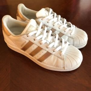 Adidas Rose Gold Superstar Classic Sneakers Size 8